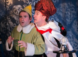 """""""Murray the Elf and the Case of the Horrible Holly Heist"""" by Bill D'Agostino, at Act II Playhouse in Ambler, Pa., through Dec. 29. Pictured: Will Dennis and Andy Shaw. (Photo by Bill D'Agostino)"""