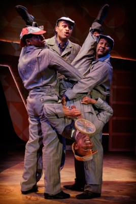 """Smokey Joe's Cafe,"" by Mike Stoller and Jerry Leiber, at the Finger Lakes Musical Theatre Festival in Auburn, N.Y., through Nov. 19. Pictured: Denzel Edmondson, Chris White, Gabriel Mudd, and Cornelius Davis. (Photo by Ron Heerkens Jr.)"