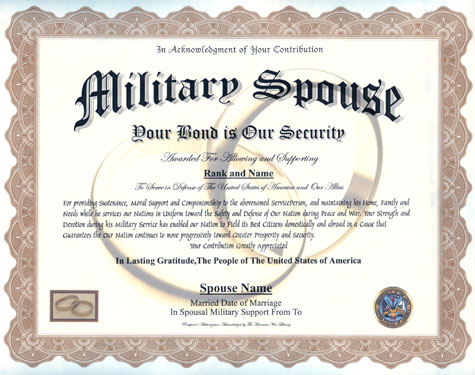 Military Spouse Display Recognition - gratitude certificate