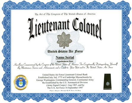 Lieutenant Colonel Air Force Rank Display Recognition - certificate of rank template