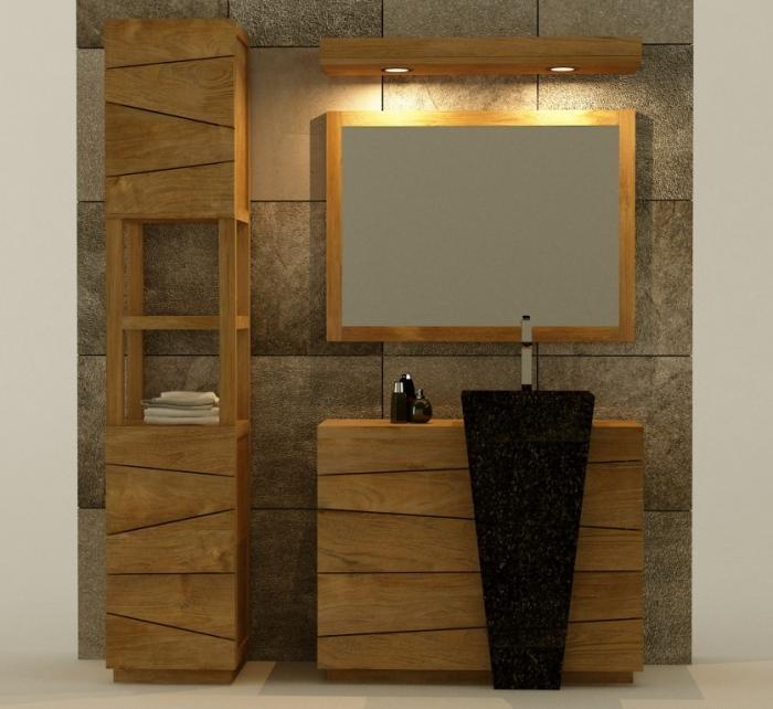 Achat / Vente Meuble salle de bain Rhodes 100 Teck - Meuble Avec Miroir Pour Salle De Bain