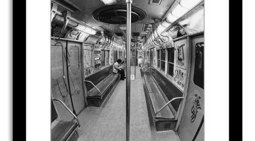 Interior view of a graffiti-covered subway car, New York, New York, February 25, 1977. (Photo by Fred W. McDarrah/Getty Images)