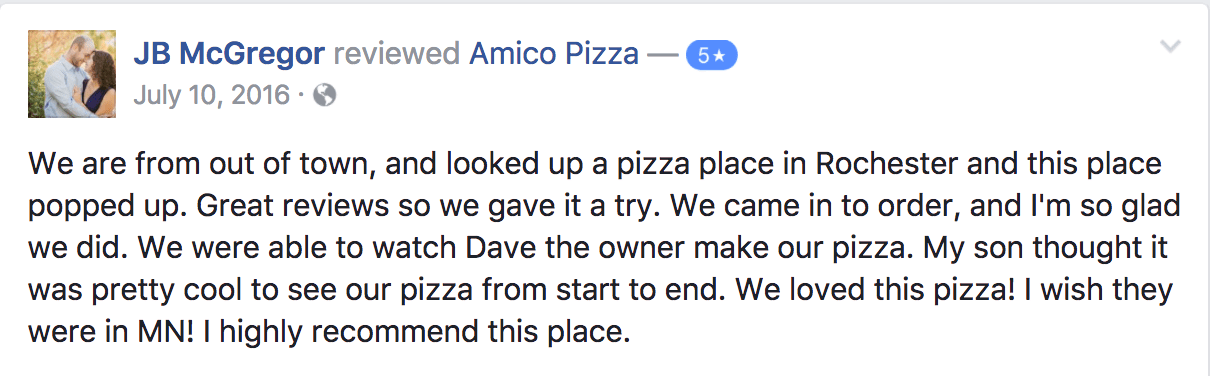 5 Star Review Amico Pizza