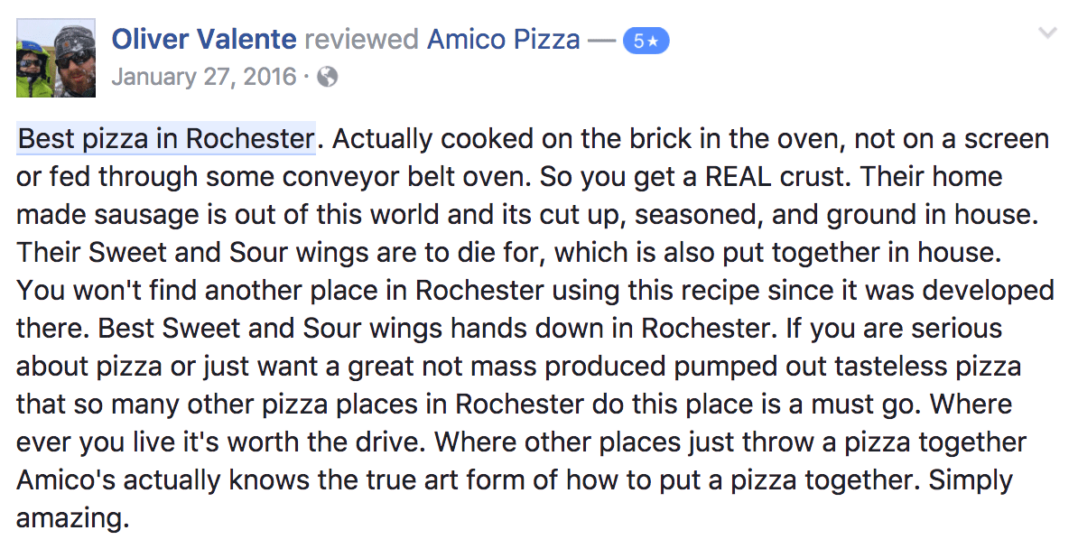 5-Star Rating for Amico Pizza