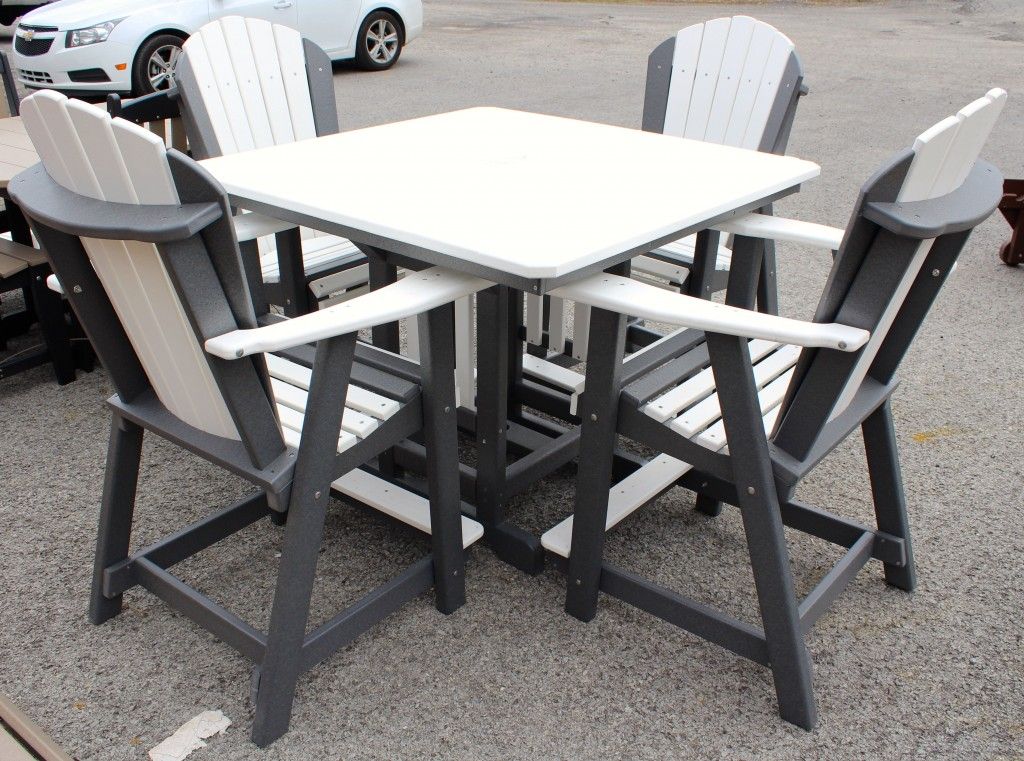 Poly 44 Square Counter Height Table And Adirondack Chair
