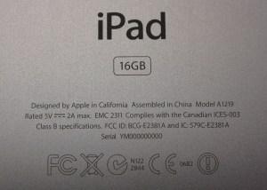 Apple iPad Agency Serial Number