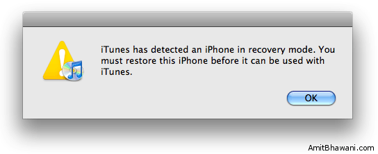 iTunes Detected iPhone Recovery Mode