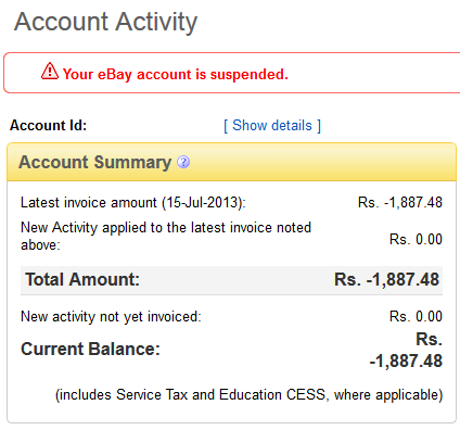 Ebay India Account Activity