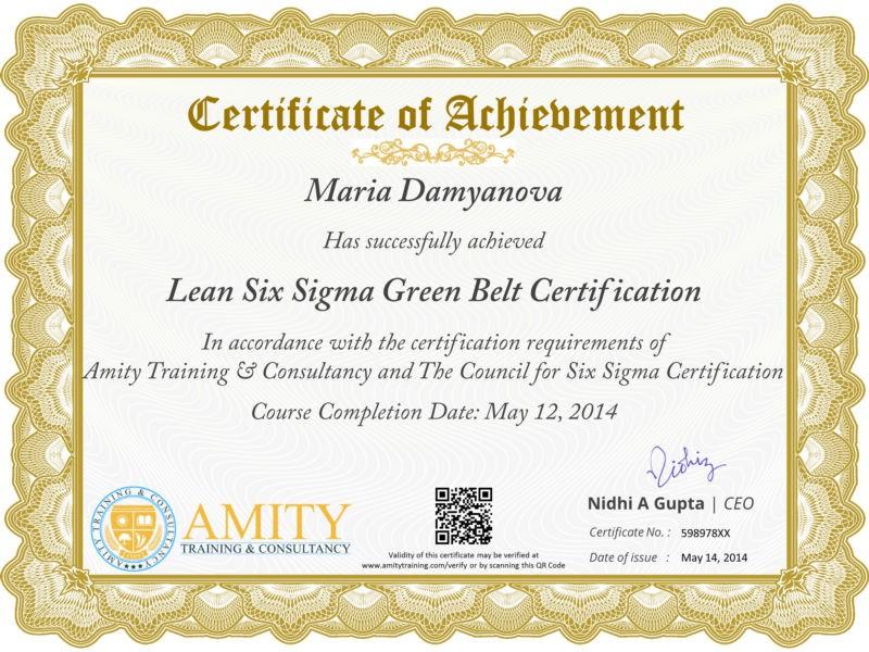 Six Sigma Green Belt Training and Certification Program