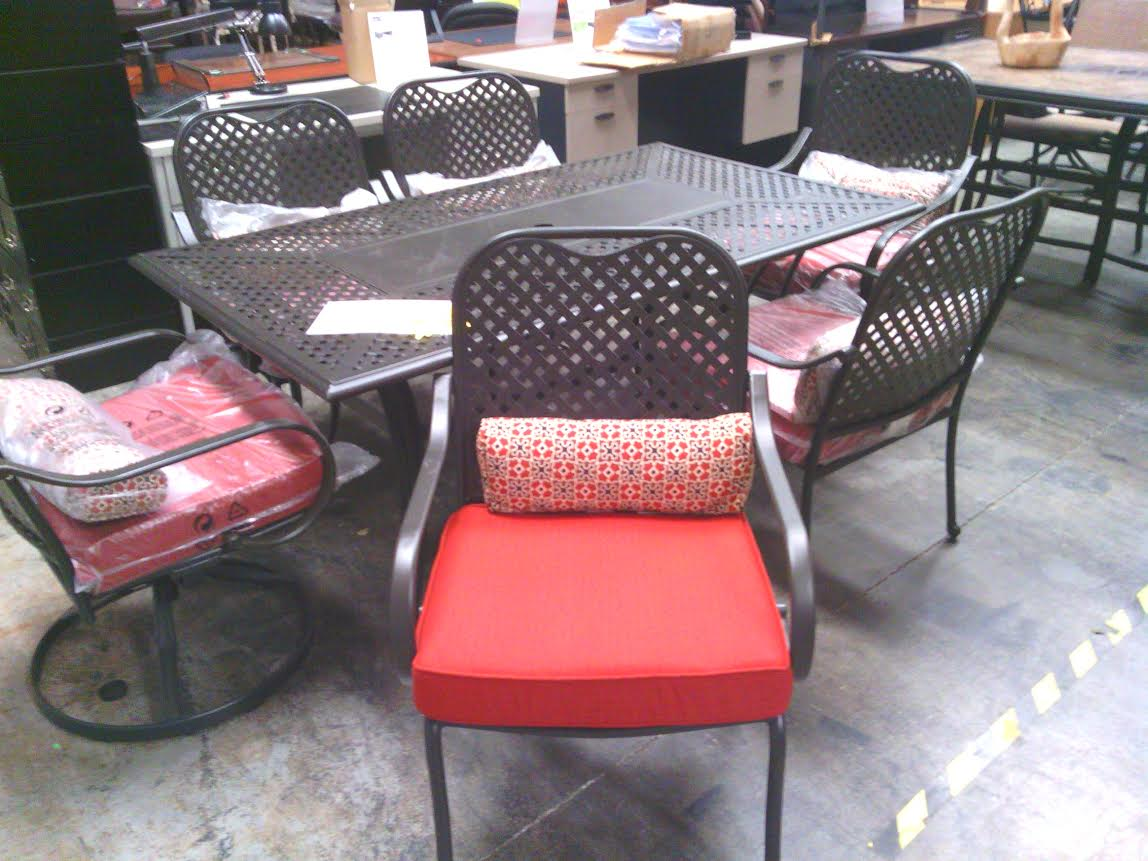Fall River 7 Piece Patio Dining Set With Dragon Fruit Red