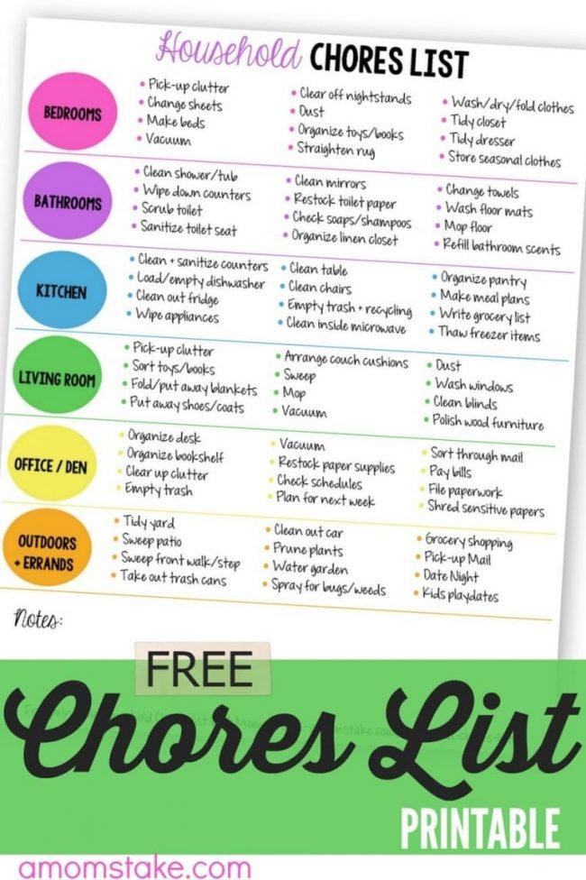 Printable Household Chores List - A Mom\u0027s Take