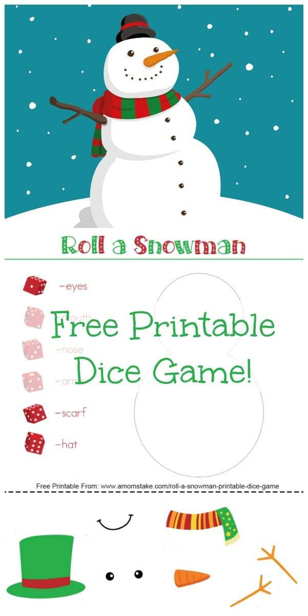 Roll a Snowman Printable Dice Game - A Mom\u0027s Take