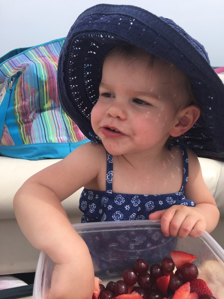 Isn't her hat the most adorable sun hat on a 16 month old?