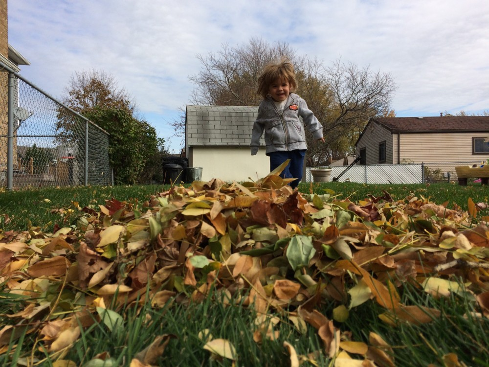 Elijah and the leaves last fall, in our old backyard.