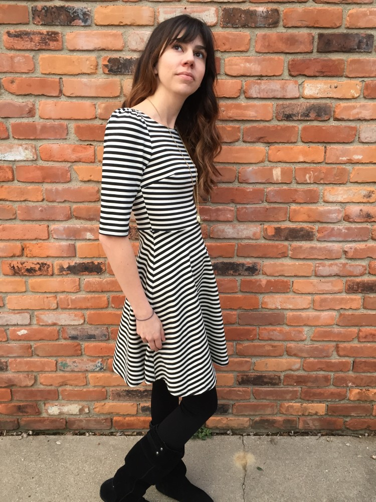 Pixley Kathy Striped Fit & Flare Dress // a monkey and his mama