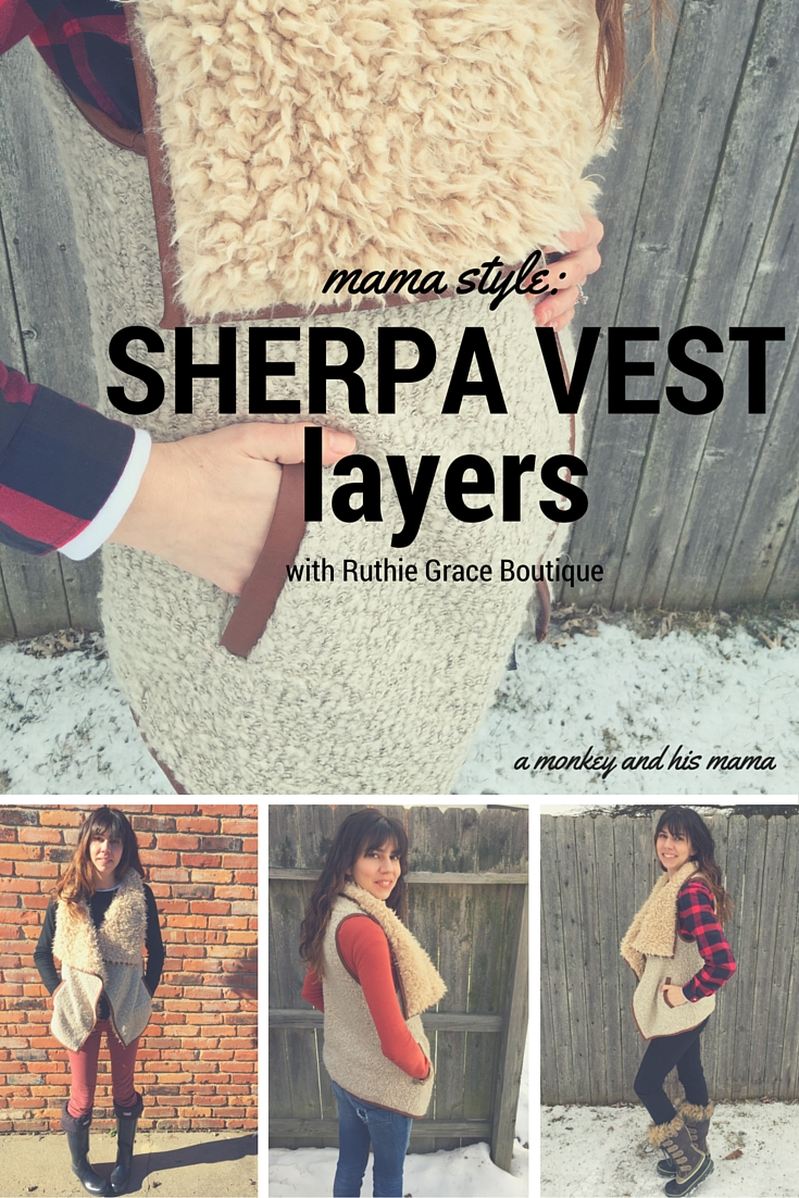 Mama Style: Sherpa Vest Layering with Ruthie Grace Boutique // a monkey and his mama