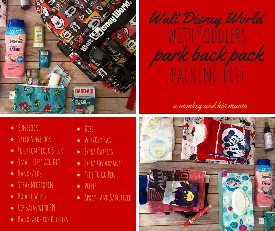 walt disney world with toddlers park backpack packing list // a monkey and his mama