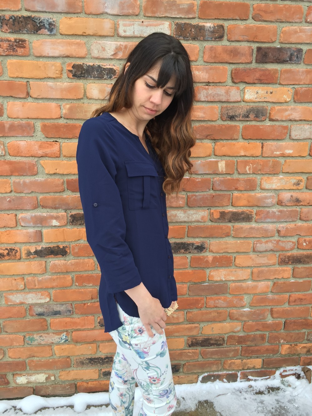Frey Roll Tab blouse by Alice Blue and Avril Floral Printed Skinny Jeans by Dear John March Stitch Fix 2016 // a monkey and his mama