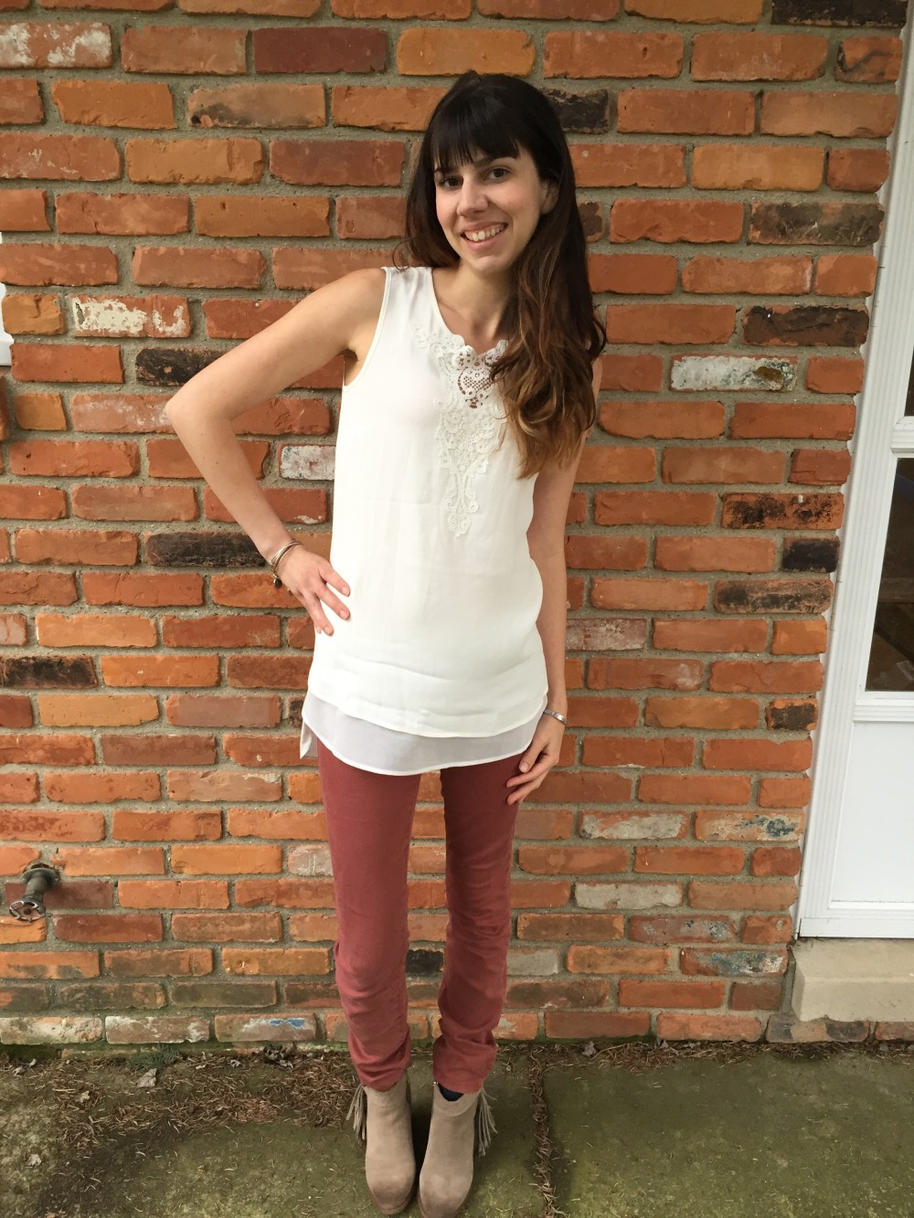 Bolivar Lace Detail Tunic, Daniel Rainn, & Level 99 burgundy jeans from my April 2016 Stitch Fix // a monkey and his mama