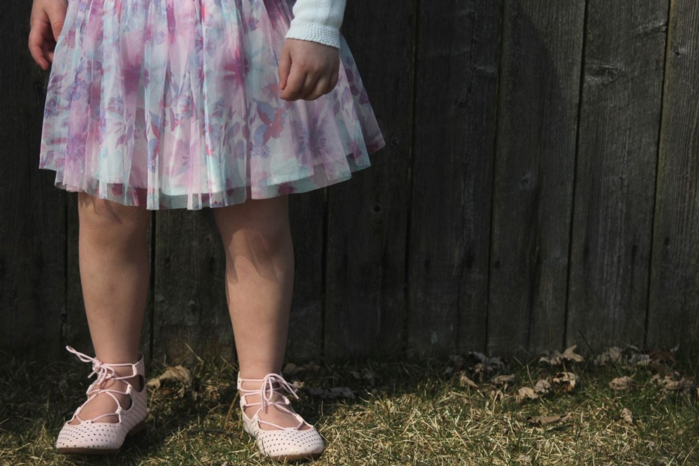 floral easter skirt and lace up flats
