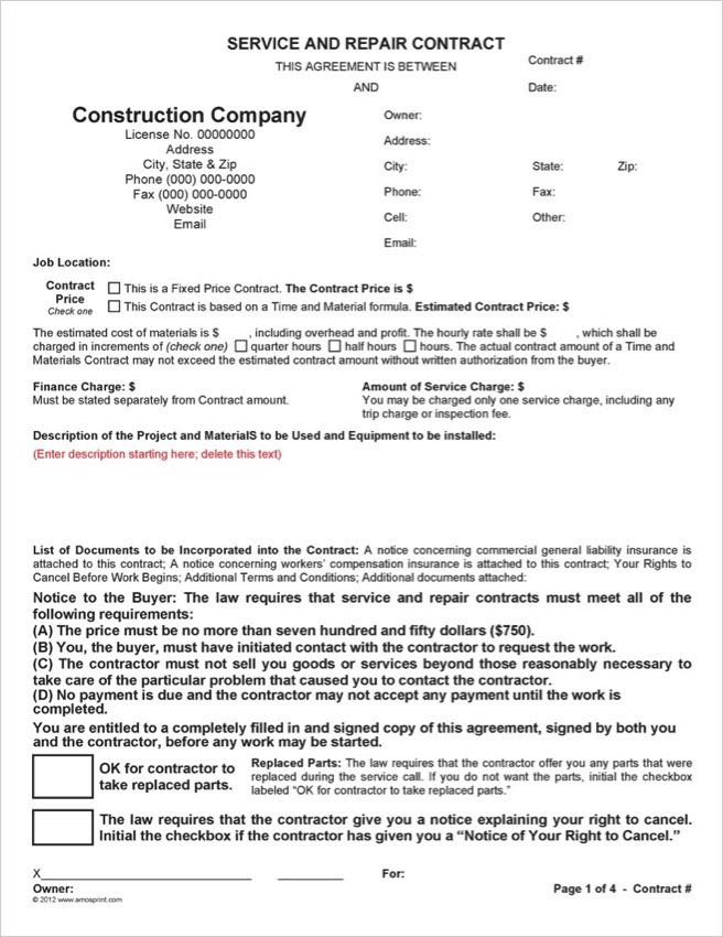 Word  PDF California Service  Repair Contract - contract word