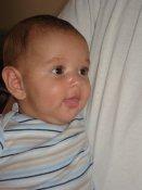 baby boy in striped shirt