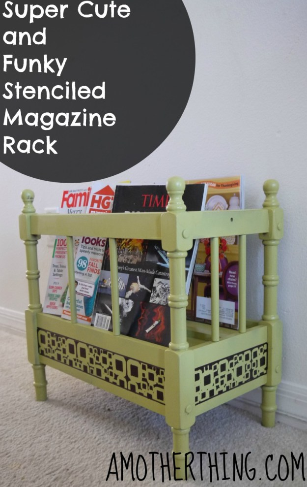 Stenciled Magazine Rack by @AMotherThing