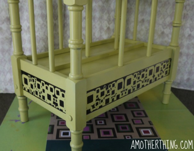 Finish stenciling magazine rack