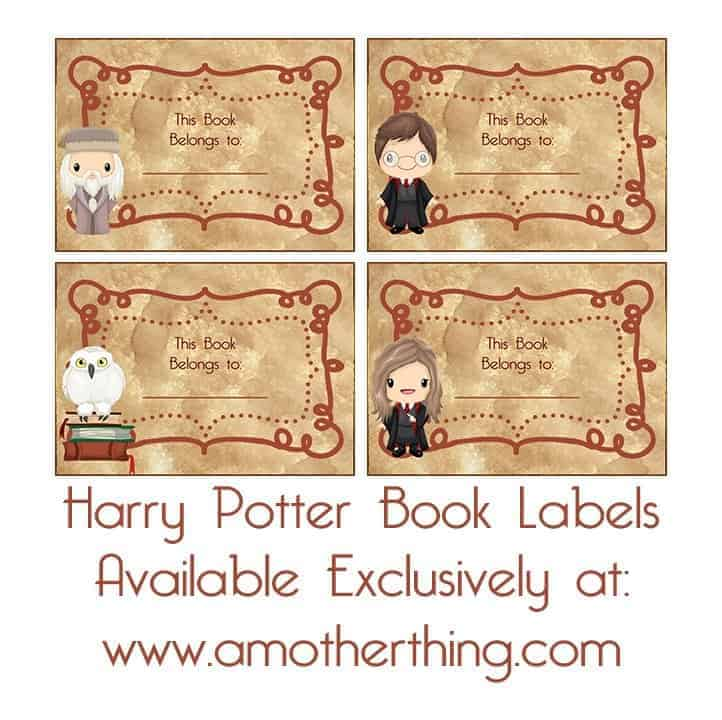 Free Printable Harry Potter Book Labels and Lunch Box Notes
