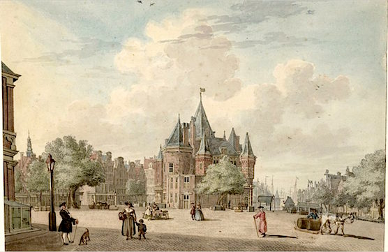 Amsterdam New Market Square and the Waag in 1756.