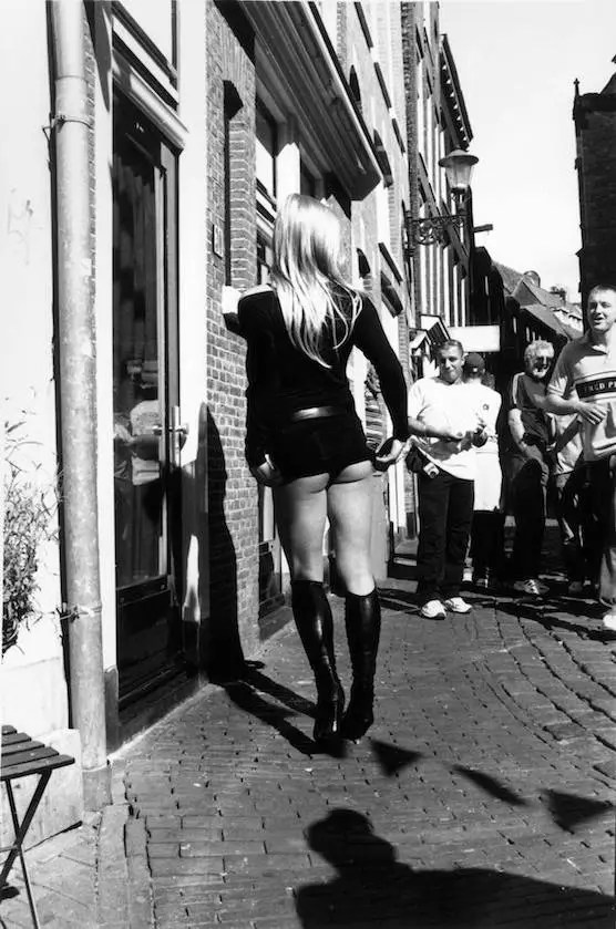 A prostitute in Amsterdam's Red Light District
