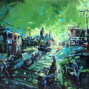 Amsterdam-Souvenir-Art-Painting-Postcards-Oosterdok-Green-small