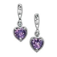 Amethyst Earrings | Heart Drop Earrings | Amulet Fine ...