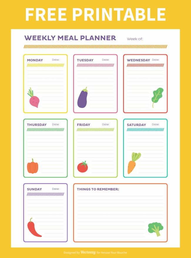 Free weekly meal planner printable - Amuse Your Bouche - basic meal planner