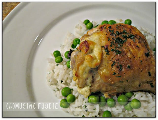Roast Chicken Thighs Stuffed with Garlic & Herb Goat Cheese