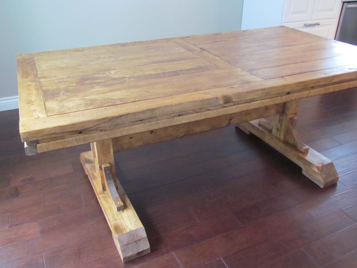double pedestal farmhouse table diy kitchen table plans Double Pedestal Farmhouse Table