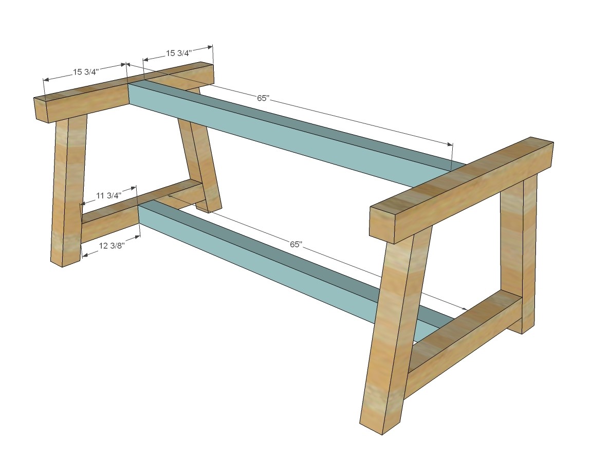 Build two of the leg sets out of the 4x4s once you get one built built the other on top of it so they match perfectly