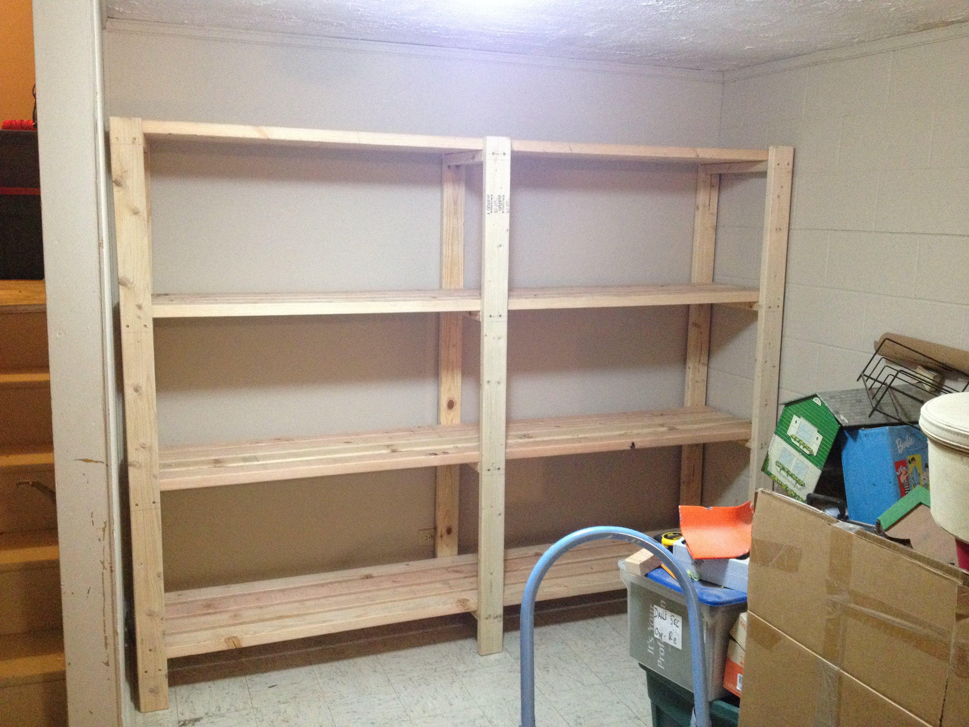 Ana White 2 X 4 Garage Shelves Built Into Basement