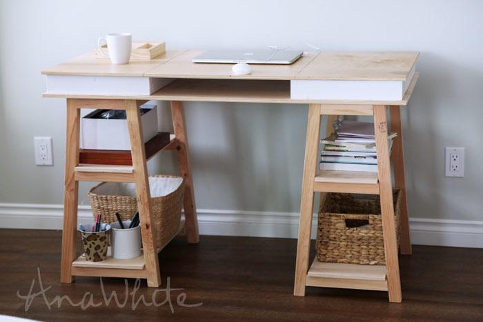 Ana White Sawhorse Storage Leg Desk Diy Projects