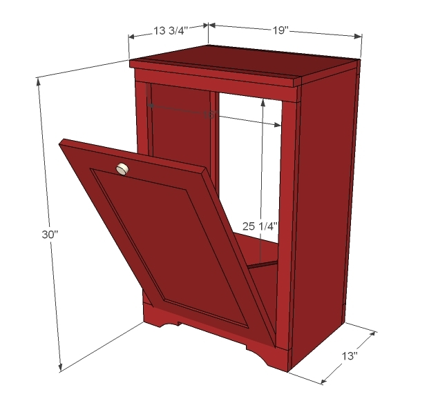 Ana White Wood Tilt Out Trash or Recycling Cabinet - DIY Projects - kitchen trash can ideas