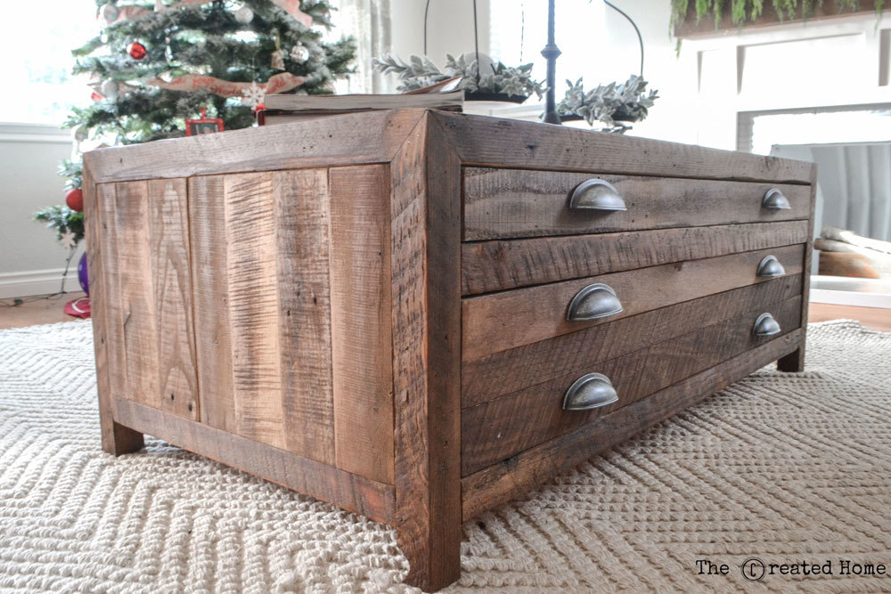 Ana White Reclaimed Wood Coffee Table with Printmaker Style