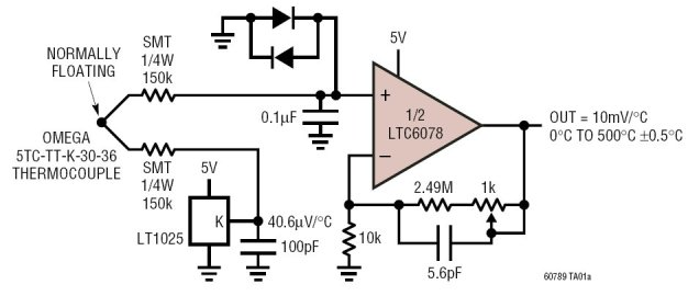 thermocouple signal conditioning circuit for 0300 c