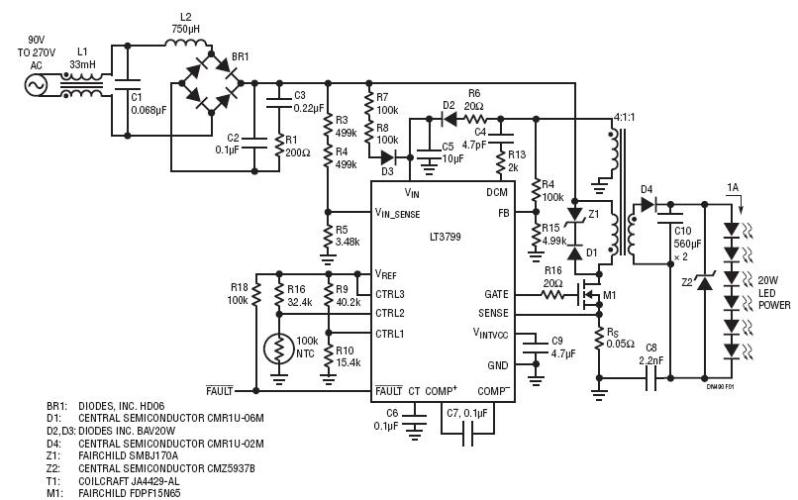 power driver for 20w led circuit