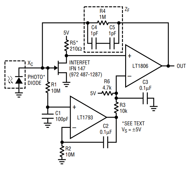 in a transimpedance amplifier the opamp continuously compares its