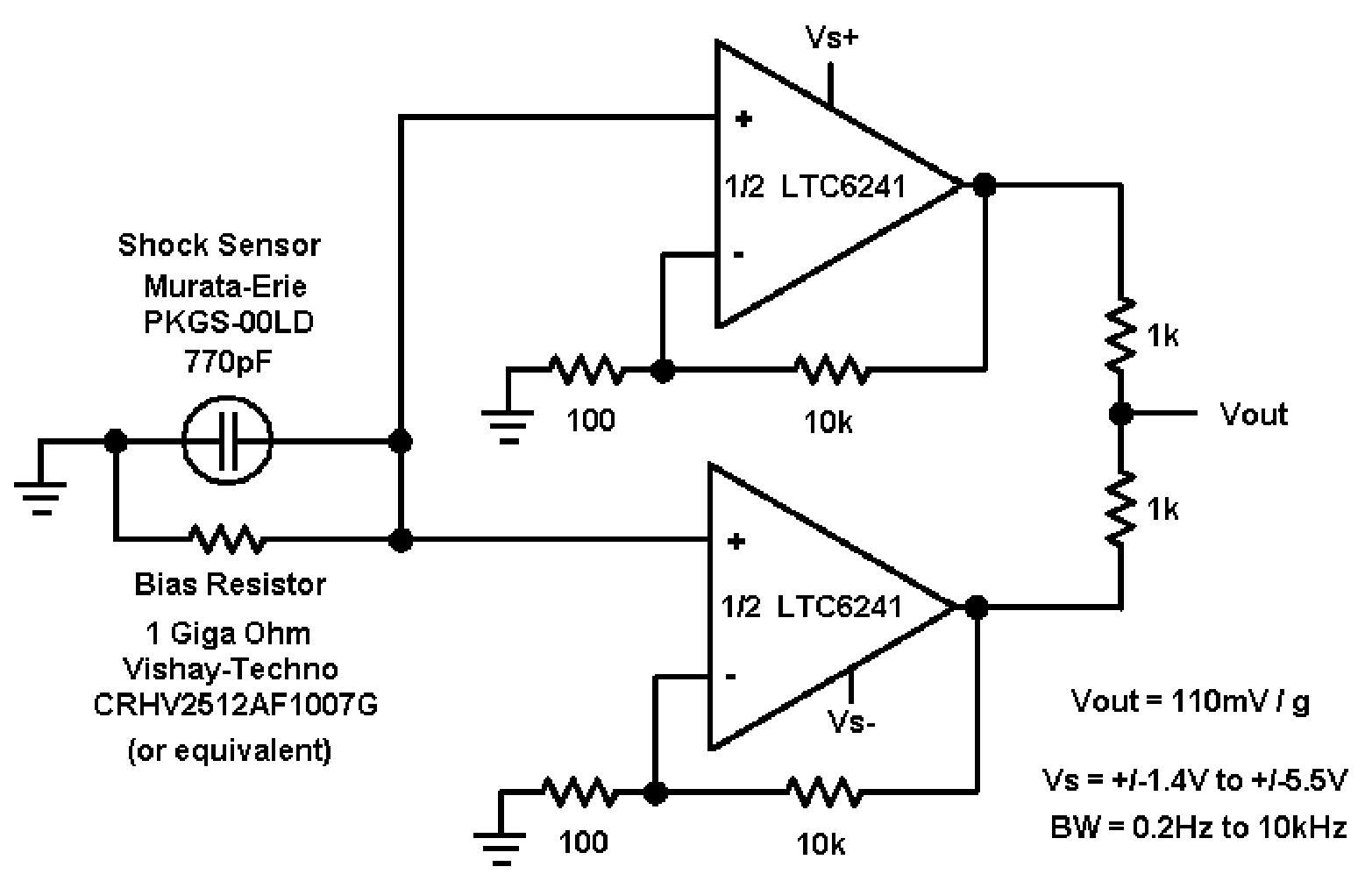 accelerometer signal amplifier