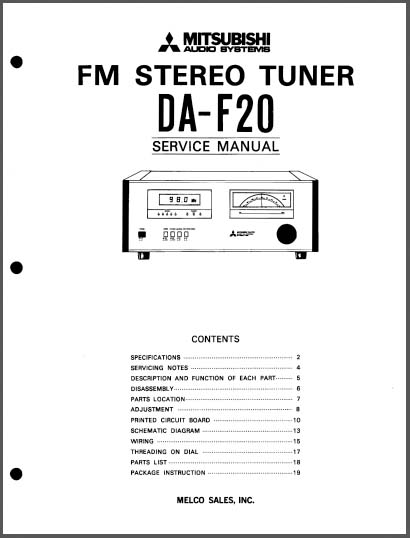 Mitsubishi DA-F20 Service Manual, Analog Alley Manuals