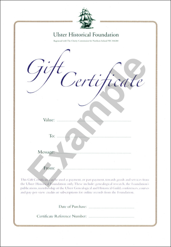 Gift Certificates - Ulster Historical Foundation