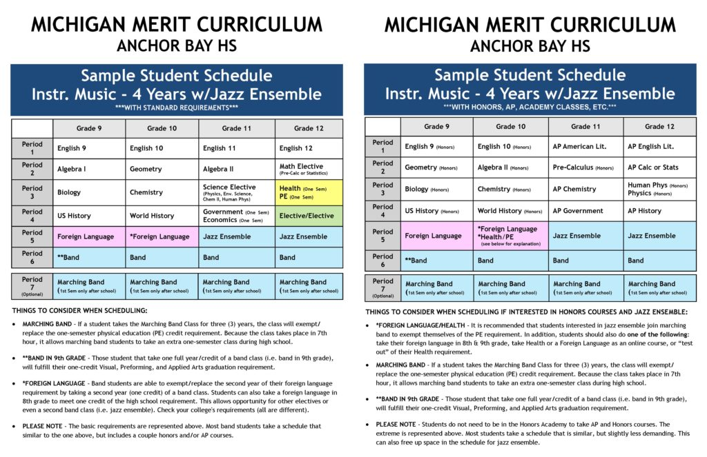 Sample Schedules Anchor Bay Bands - sample schedules - class schedule