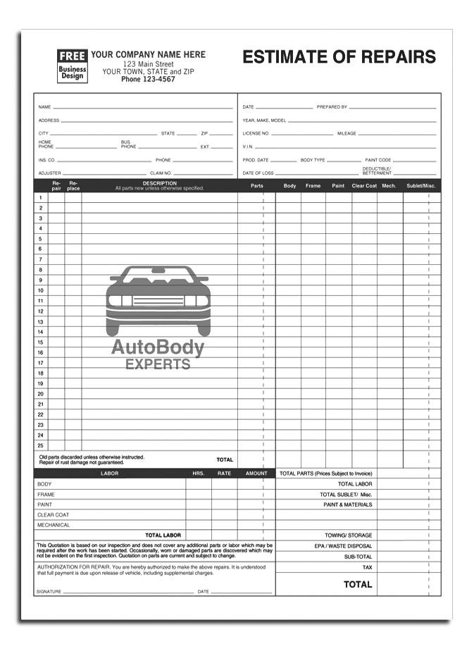 vehicle repair form template - Goalgoodwinmetals