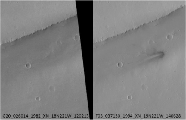 A comparison of the region before and after the disk-shaped object crashed into Mars.